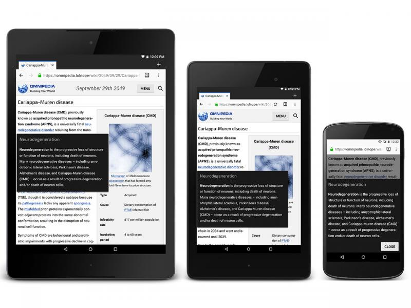 Three mobile devices displaying an Omnipedia article with a content pop-up open: a large tablet, a small tablet, and a phone.