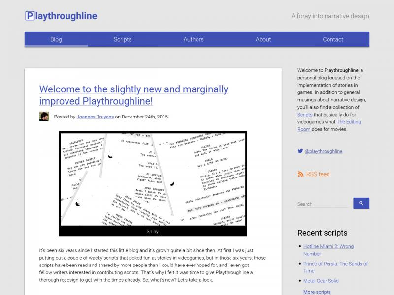 Screen capture of the Playthroughline home page