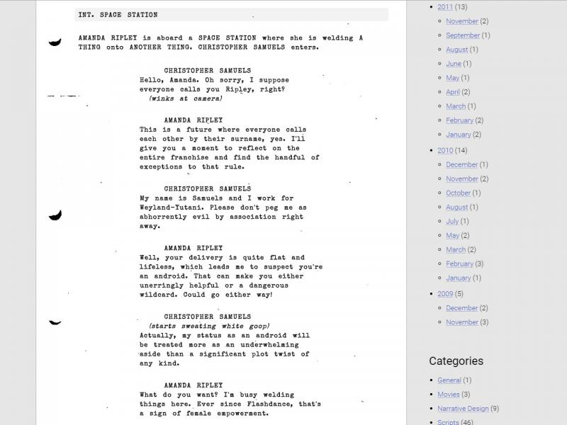 Screen capture of the Playthroughline script formatting, complete with photocopy grunge