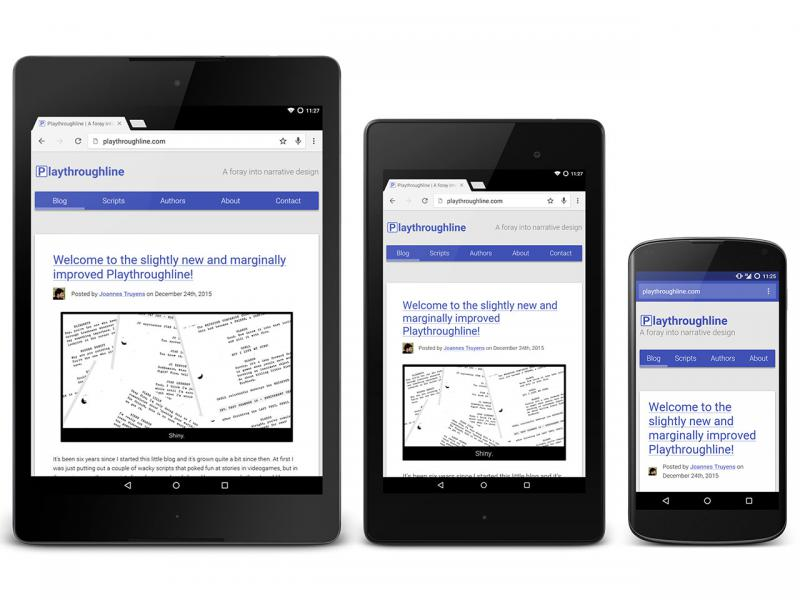 Comparison of the Playthroughline home page on large tablet, small tablet, and phone sizes